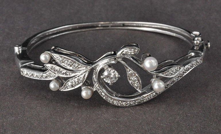 1950's Victorian-Style Cultured Pearl & Diamond Bangle