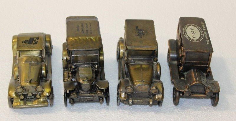 Set of 4 Antique Metal Toy Car Coin Banks - 2