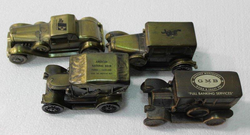 Set of 4 Antique Metal Toy Car Coin Banks - 3
