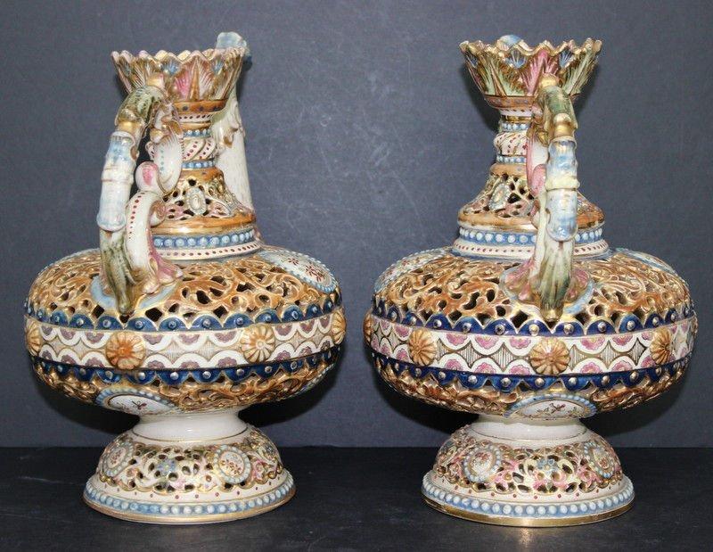 Antique Fischer J. Budapest Porcelain Ewers - 3