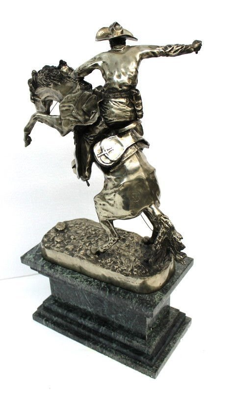 Frederic Remington Bronco Buster in Sterling Silver (6 - 8