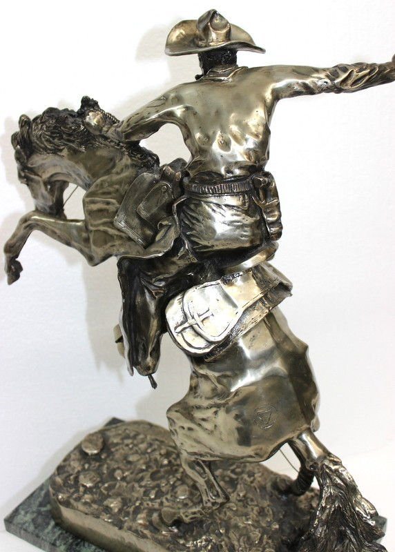 Frederic Remington Bronco Buster in Sterling Silver (6 - 9