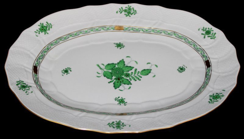 Herend 'Green Chinese Bouquet' Oval Serving Tray