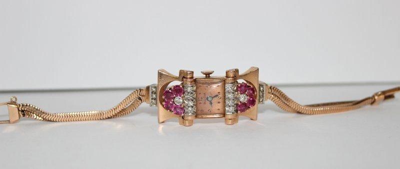 Bulova 14Kt RG Ruby & Diamond Ladies Watch