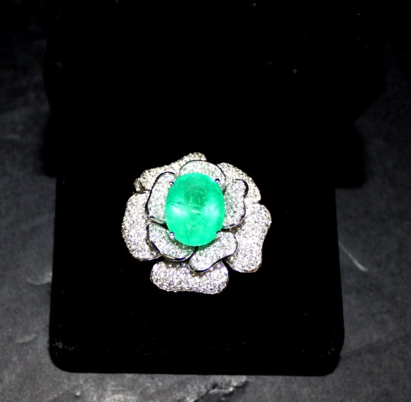 18Kt WG 11.21ct. Emerald & 5.62ct. Diamond Flower Ring