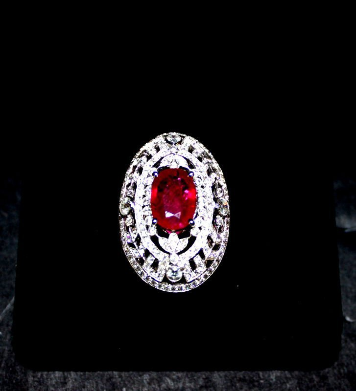 18Kt WG 4.07ct. Ruby & 2.49ct. Diamond Ring