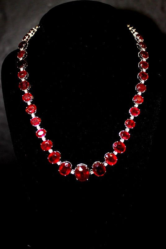 14Kt WG 170.00ct. Ruby & 3.70ct. Diamond Necklace