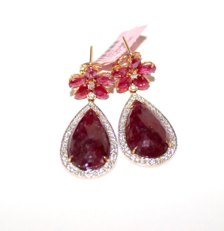 18Kt RG 27.35ct. Ruby & 0.90ct. Diamond Earrings