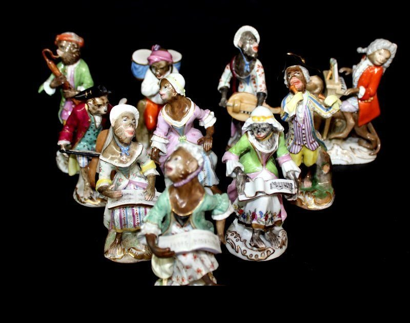 10 Pc. Meissen Porcelain Monkey Band Group