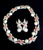 Tiffany  Co 18Kt YG  Sterling Mobe Pearl  Coral