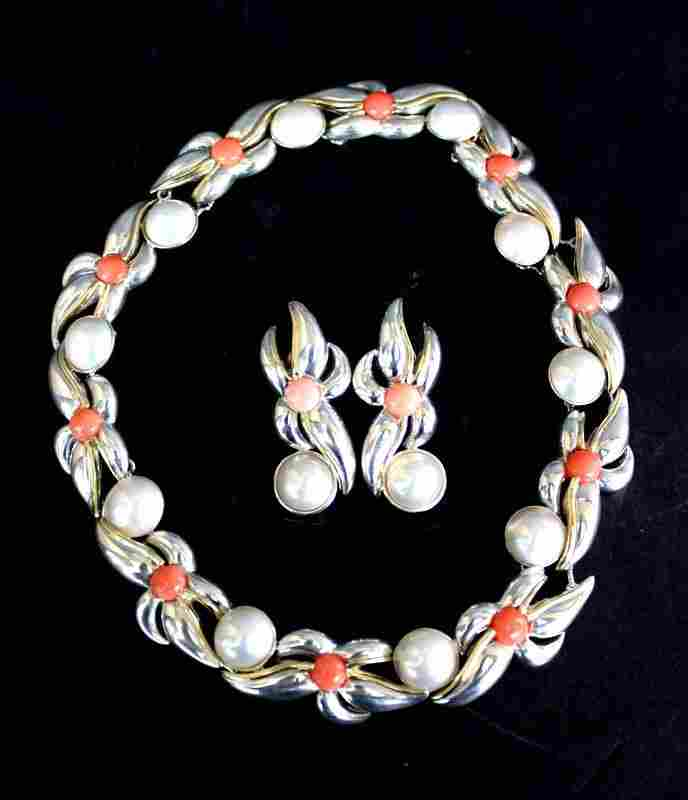 Tiffany & Co. 18Kt YG & Sterling Mobe Pearl & Coral
