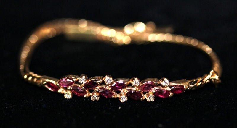 14Kt YG Diamond & Ruby Bracelet