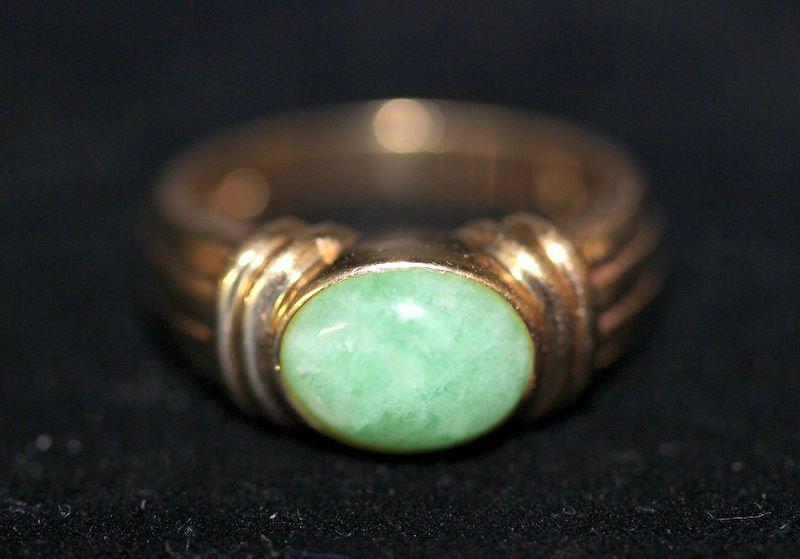 14Kt YG Jade Ring