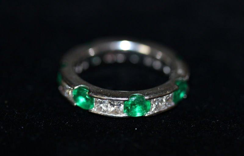 14Kt WG 2.50ct. Diamond & 2.45ct. Emerald Eternity Ring