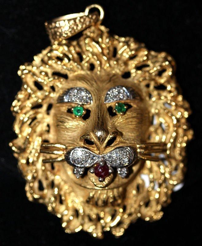 18Kt YG Ruby, Emerald & 0.30ct. Diamond Lion Pendant