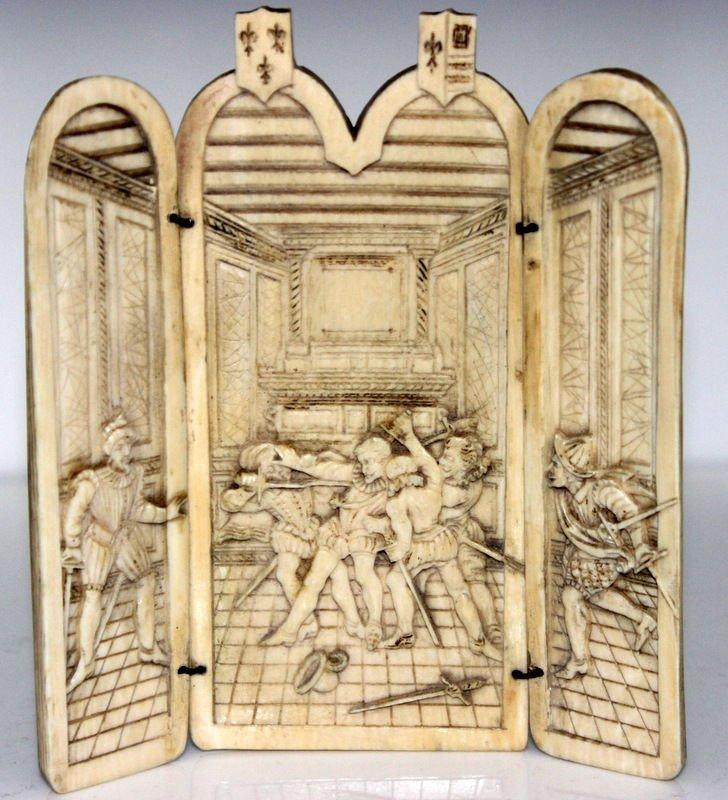 Antique European Ivory Figural Triptych