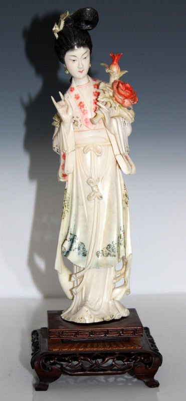 Chinese Carved Polychromed Ivory Maiden