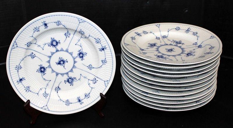 13 Pc. Royal Copenhagen Blue Lace Deep Salad Plates