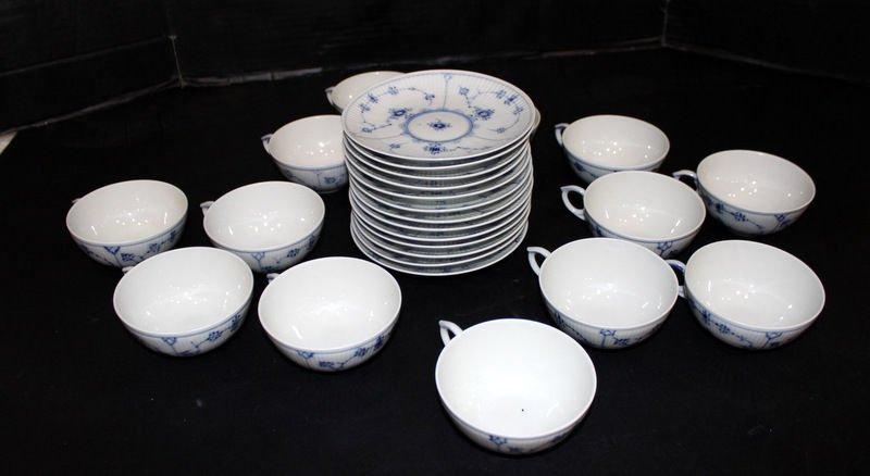 26 Pc. Royal Copenhagen Blue Lace Tea Cups & Saucers