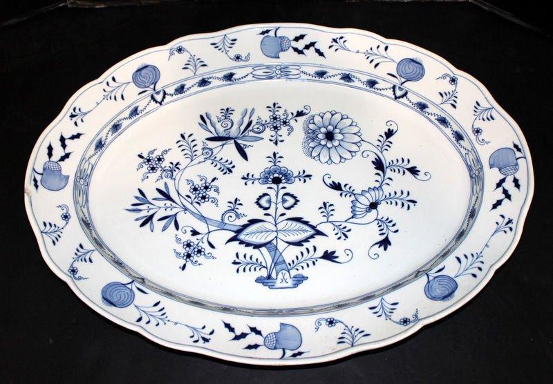 Large Meissen Blue & White Porcelain Serving Platter