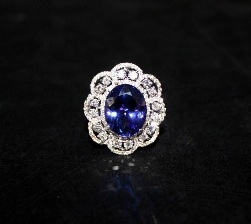 18Kt WG 9.50ct. Tanzanite & 2.26ct. Diamond Ring