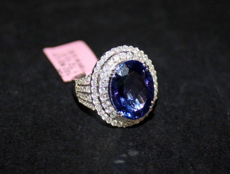 18Kt WG 13.17ct. Tanzanite & 1.77ct. Diamond Ring