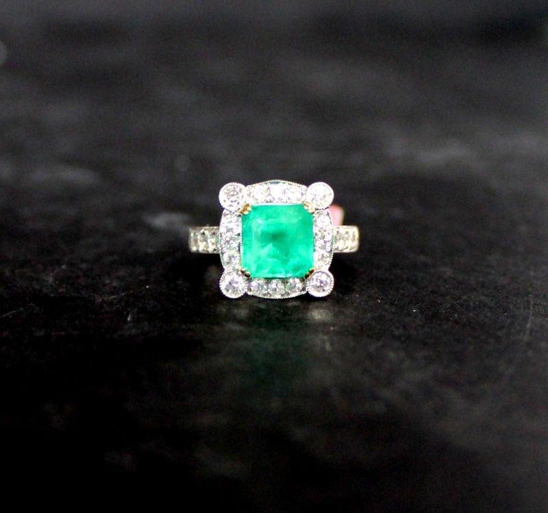 18Kt WG 2.73ct. Emerald & 1.00ct. Diamond Ring