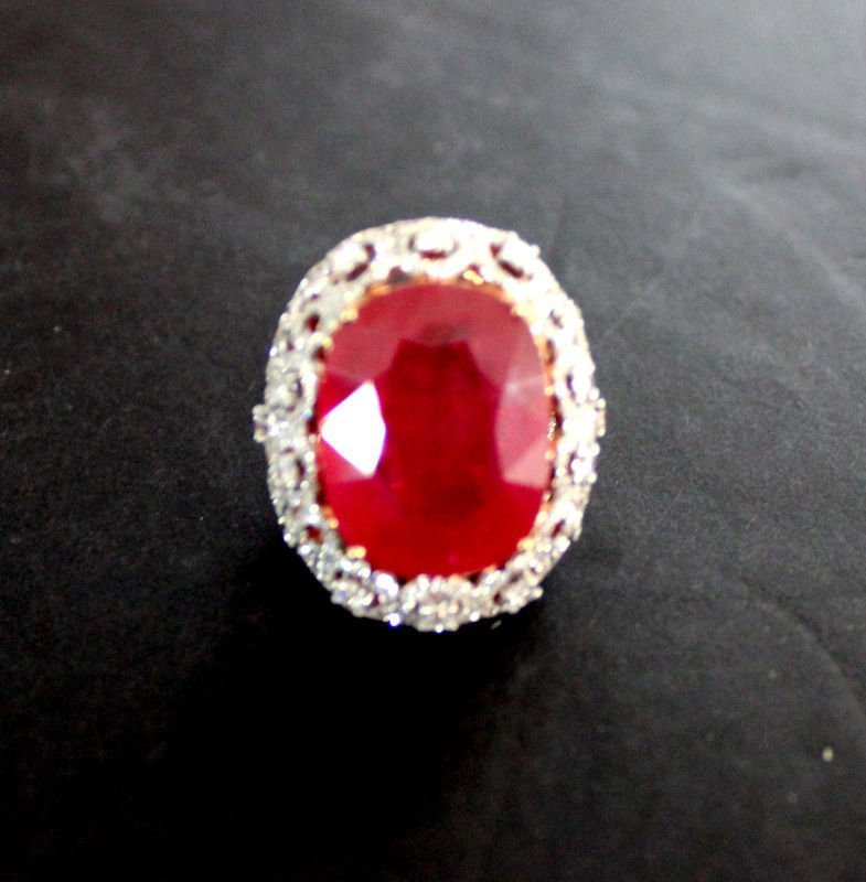 18Kt RG 38.65ct. Ruby & 3.39ct. Diamond Ring