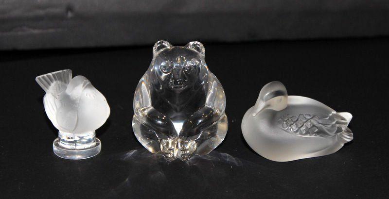 3 Pc. Lalique & Steuben Crystal Pieces