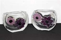 Pair of Vintage Daum France Pate de Verre Vases