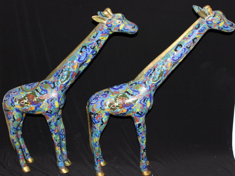Pair of Large Cloisonne Giraffe Statues