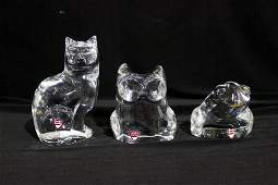 3 Pc Orrefors Crystal Animals