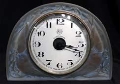 """Rene Lalique """"Moineaux"""" Table Clock"""