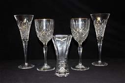 5 Pc Waterford Crystal Glasses  Vase