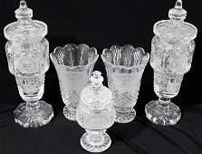 5 Pc Waterford Calder Races Crystal Vases