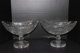 Pair of Waterford Cut Crystal Compotes