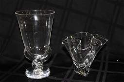 2 Pc Steuben Crystal Vases