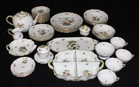 39 Pc Herend Rothschild Bird China Set