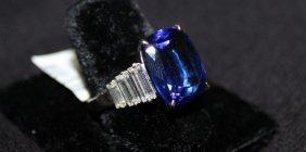 Exquisite Platinum 12.40ct. Tanzanite & 1.50ct. Diamond