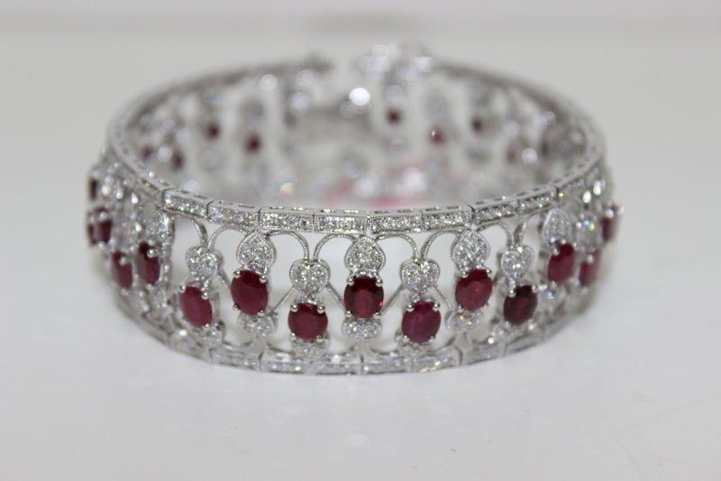 14Kt WG 15.84ct. Ruby & 3.94ct. Diamond Bracelet