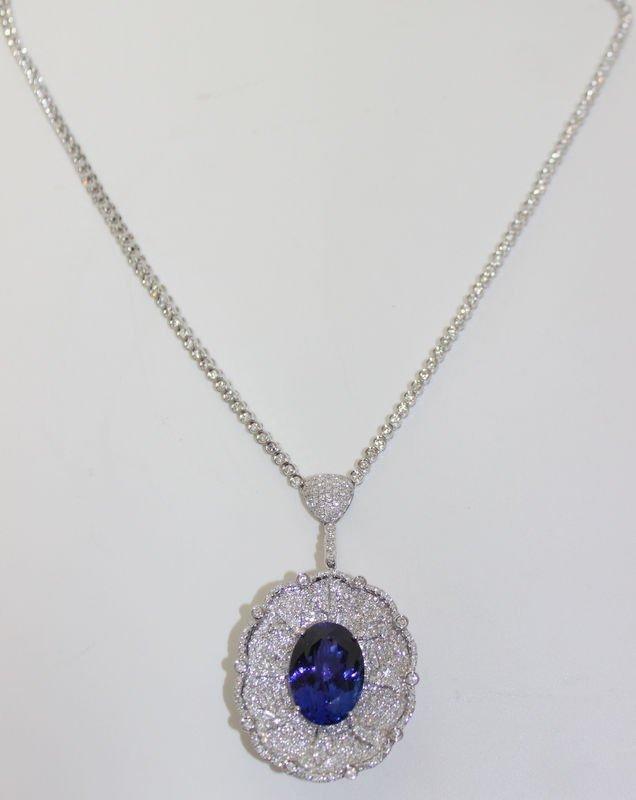 18Kt WG 22.47ct. Tanzanite & 7.39ct. Diamond Necklace