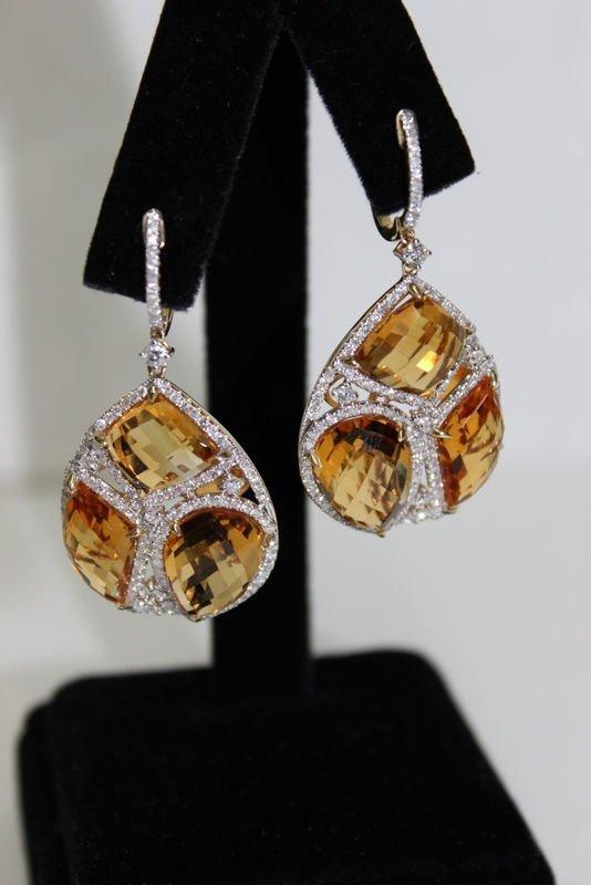 14Kt YG 29.59ct. Citrine & 2.00ct. Diamond Earrings