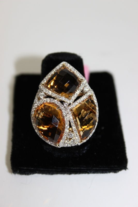 14Kt YG 15.33ct. Citrine & 1.10ct. Diamond Ring