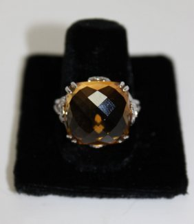 18kt Wg 14.61ct. Citrine & 0.19ct. Diamond Ring