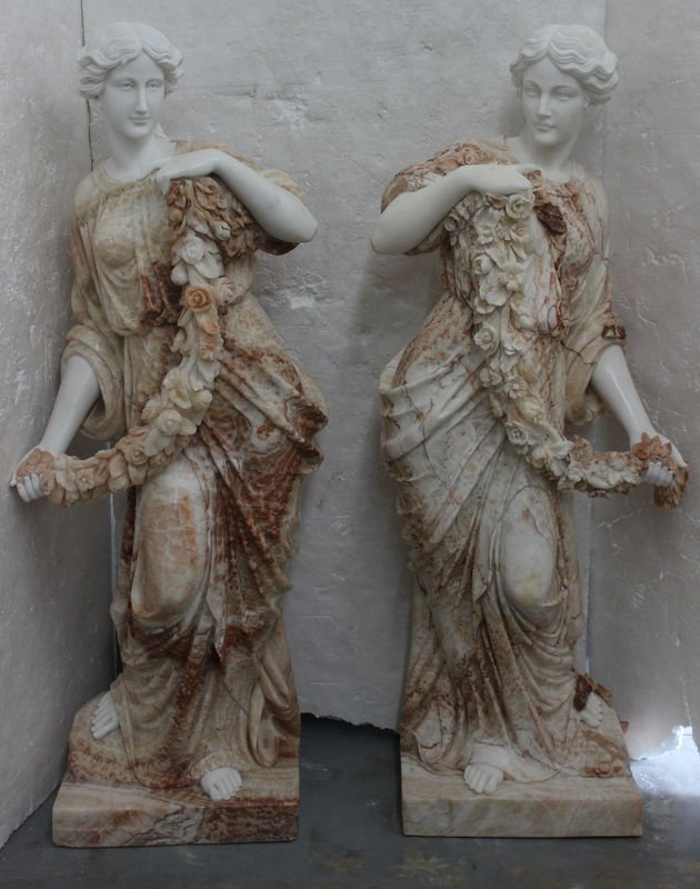 Two Monumental Marble Statues