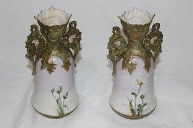 Pair Of Carlsbad Austrian Hand Painted Porcelain Vases