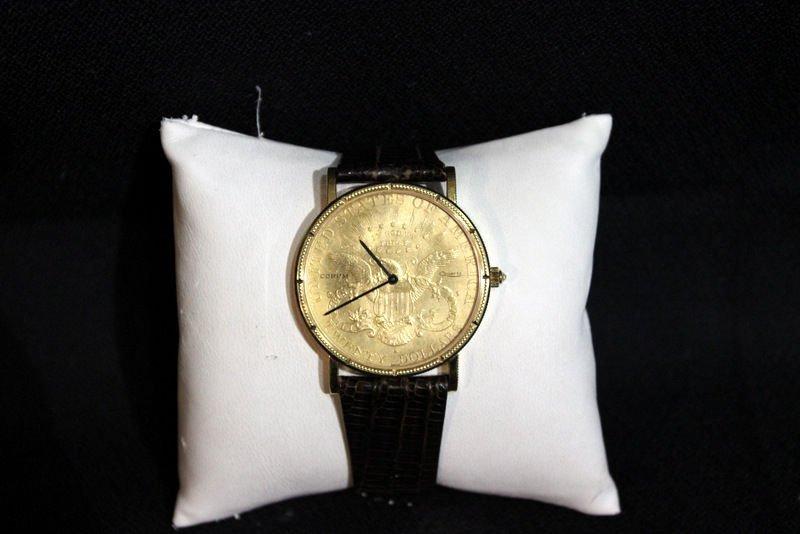 Corum 18Kt YG $20 Dollar Coin Leather Strap Watch