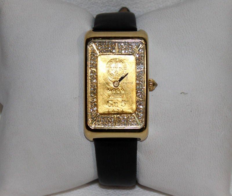 "Corum ""Ingnet"" 18Kt YG Diamond & Leather Strap Watch"