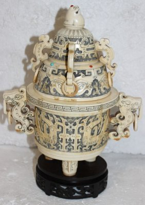 Antique Chinese Carved Ivory & Precious Stone Incense