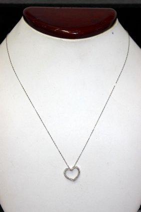 14kt Wg Diamond Heart Pendant W/ Necklace